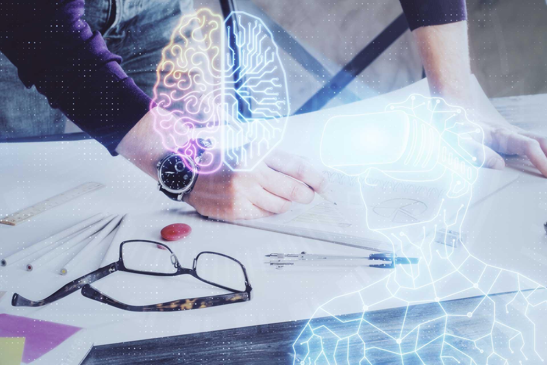 VR Brille vernetzt mit Gehirn